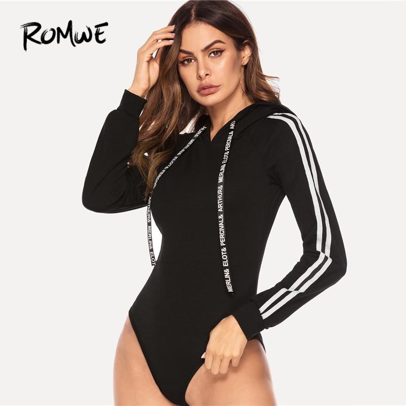 ROMWE Stripe Contrast Raglan Sleeve Hooded Bodysuit 2019 Women Black Autumn Sexy Jumpsuit Long Sleeve Skinny Spring Bodysuit