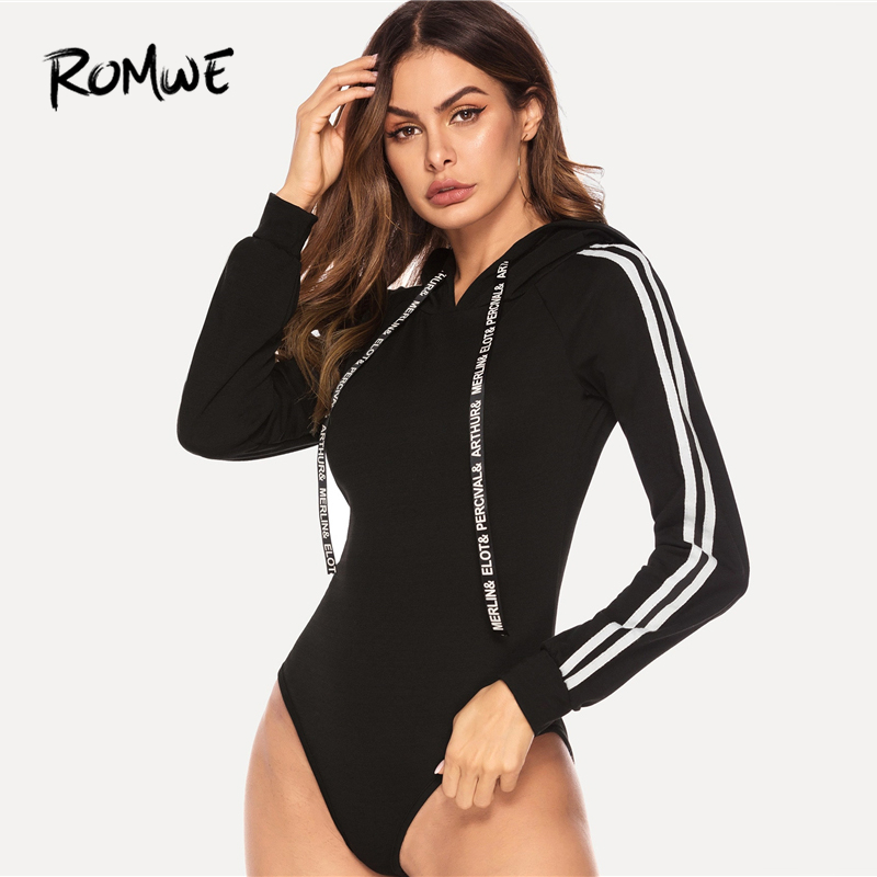 ROMWE Stripe Contrast Raglan Sleeve Hooded Bodysuit 2019 Women Black Autumn Sexy   Jumpsuit   Long Sleeve Skinny Spring Bodysuit
