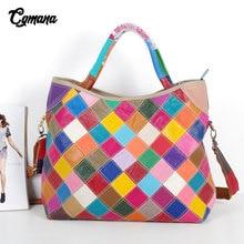 100% Genuine Leather Women Handbag 2019 Colorful Natural Patchwork Shoulder Bag Large Capacity Casual Tote bag