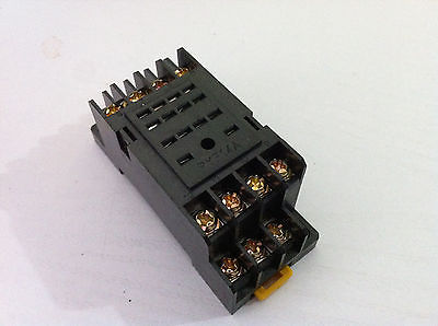 10PCS Mini Relay Socket Base PYF14A For H3Y-4 Timer Relay 10pcs pyf14a 14 pin terminal relay socket base black for my4nj base hh54p power relay