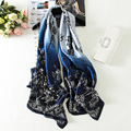 Lace Flowers Women Silk Scarf Ombre Fashion Shawl Long Soft Summer Foulard Female Hijab High Quality [0510]
