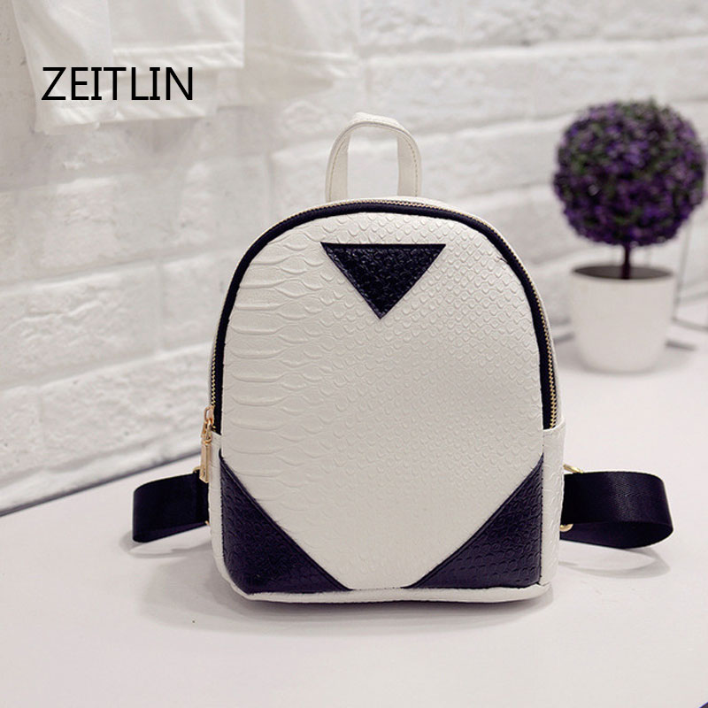 Women Backpacks Fashion PU Leather Girls Shoulder Bag Crocodile Pattern Small Backpack Embossed School Bags T1585