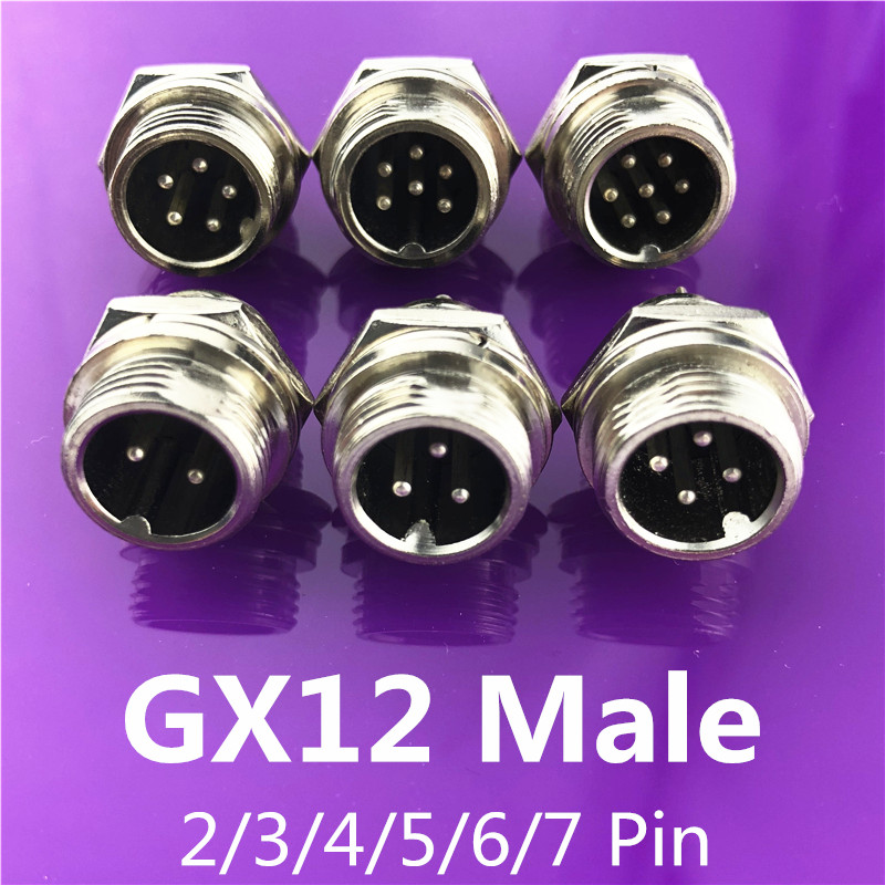 1pc GX12 2/3/4/5/6/7 Pin Male 12mm L116-121 Circular Aviation Socket Plug Wire Panel Connector With Plastic Cap Lid