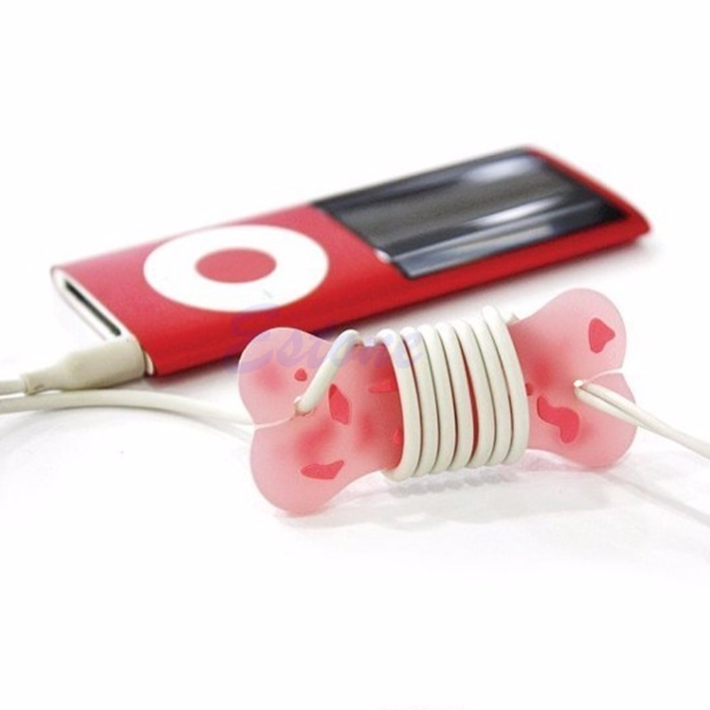OOTDTY Dog Bone Cute Cartoon Cord Cable Headphone Earphone Wrap Manage Winder Organizer