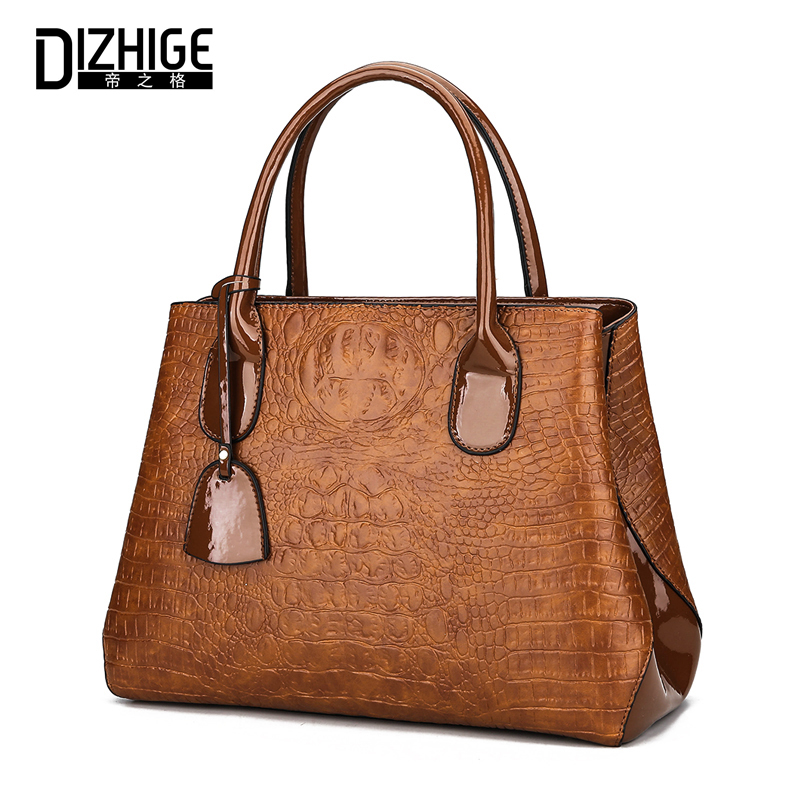 DIZHIGE Alligator Pattern Women Leather Handbags High Quality Ladies Hand Bags Famous Brands Shoulder Bag Female Casual Tote lirenniao casual tote women shoulder bags leather bag hasp handbags women famous brands high quality solid ladies hand bags 2017