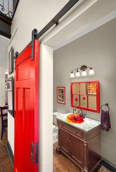 DIYHD раздвижные двери сарая ролики аппаратные интерьер сарай двери раздвижные оборудования трек набор
