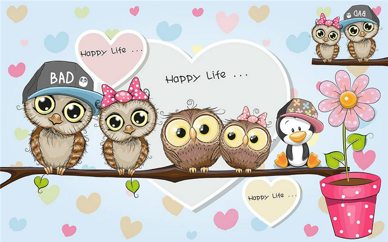 Wallpapers Youman Custom Cartoon Wallpaper Cute Cartoon Owl