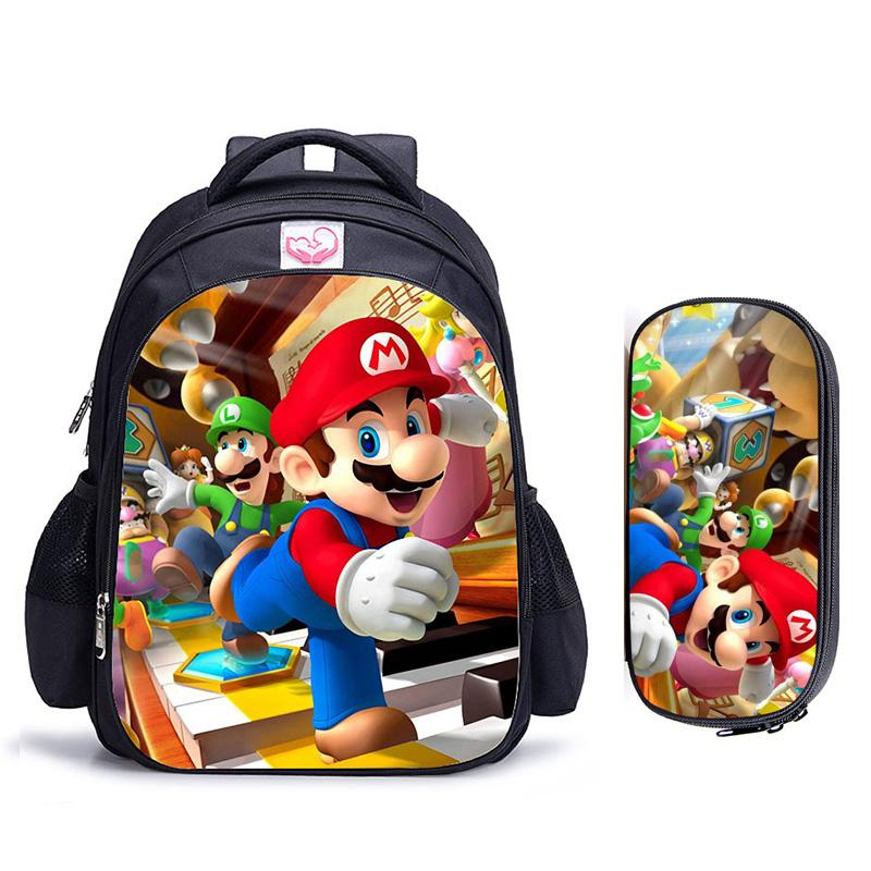 16 Inch Game Mario Bros Sonic Children School Bags Orthopedic Backpack Kids School Boys Girls Mochila Infantil Catoon Bags