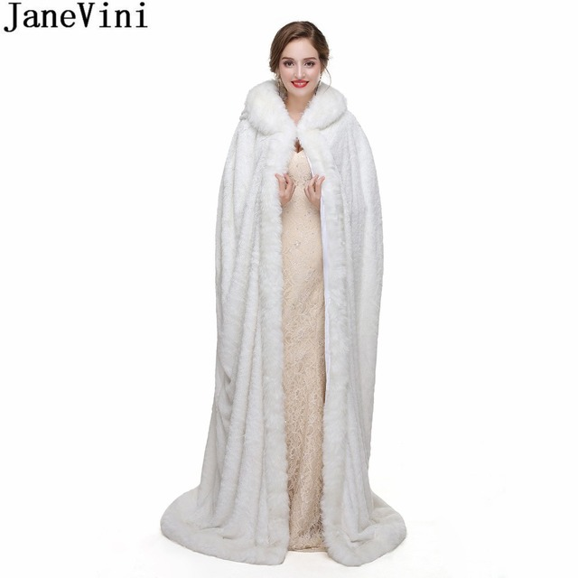 4f8596da6bad5 JaneVini Princess Bolero White Fur Cape Winter Hooded Long Faux Fur Wrap For  Brides Wedding Shrug Jacket Party Cloaks Shawl 2018