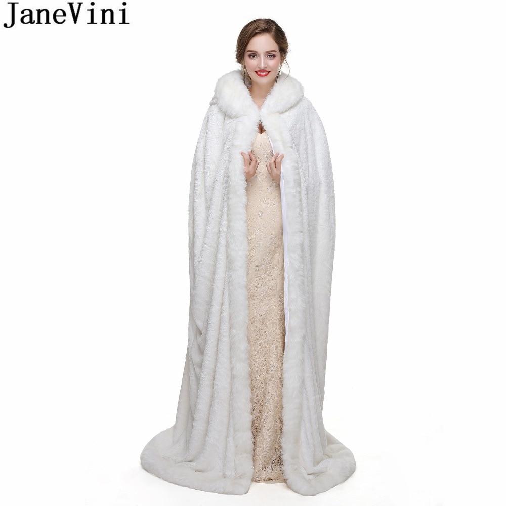 JaneVini Princess Bolero White Fur Cape Winter Hooded Long Faux Fur Wrap For Brides Wedding Shrug Jacket Party Cloaks Shawl 2018