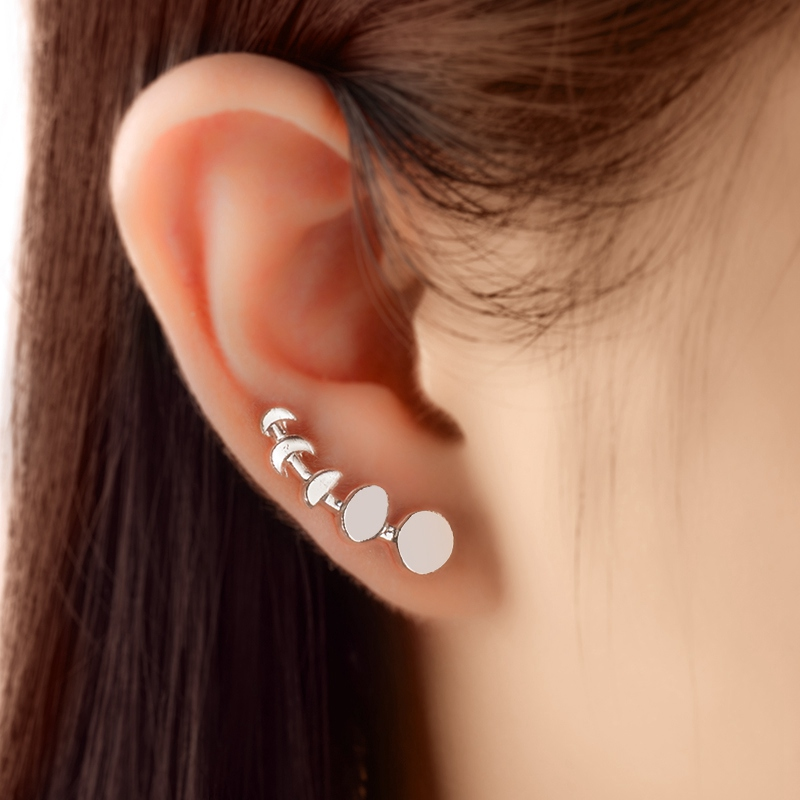 1 Pair Trendy Elegant Moon Phases Ear Stud Half Round Change Vine Earring Climber For Women Girls Beauty Jewelry Accessories
