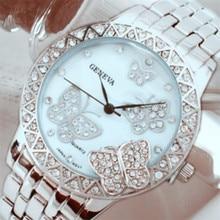 women watches Women's Classic Round Silver Tone Stainless Steel Butterfly clock Quartz Wrist Watches dress relogio feminino