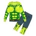 Hulk Niños Pijamas de Manga Larga Niños Ropa Para Niños Traje Ropa de Los Muchachos 100% Algodón de Dormir Verde