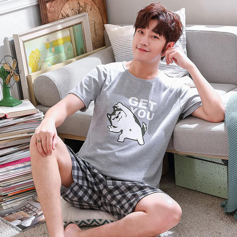 MISSKY Summer Men Pajama Sets Sleepwear Loose Cotton Short Sleeve Shirt + Shorts Pyjama Set For Student Lovers Male Clothes