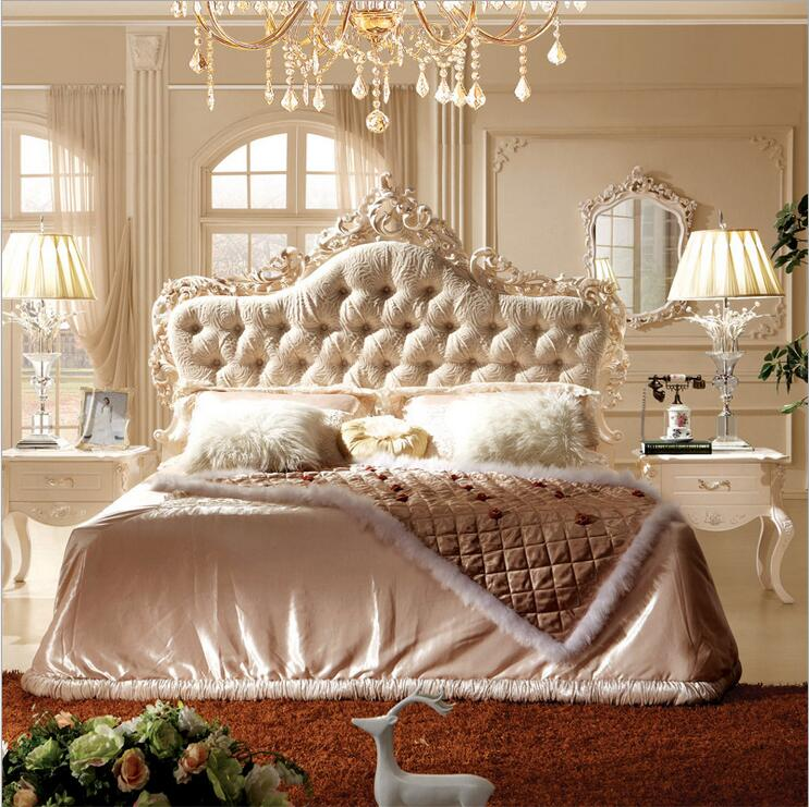 Modern European Solid Wood Bed Fashion Carved Fabric French Bedroom Furniture Pfy10138-in Beds