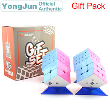YongJun Gift Pack Magic Cube YJ 4pcs/Set 2x2x2 3x3x3 4x4x4 5x5x5 Stickerless Speed Puzzle Educational Toys For Children
