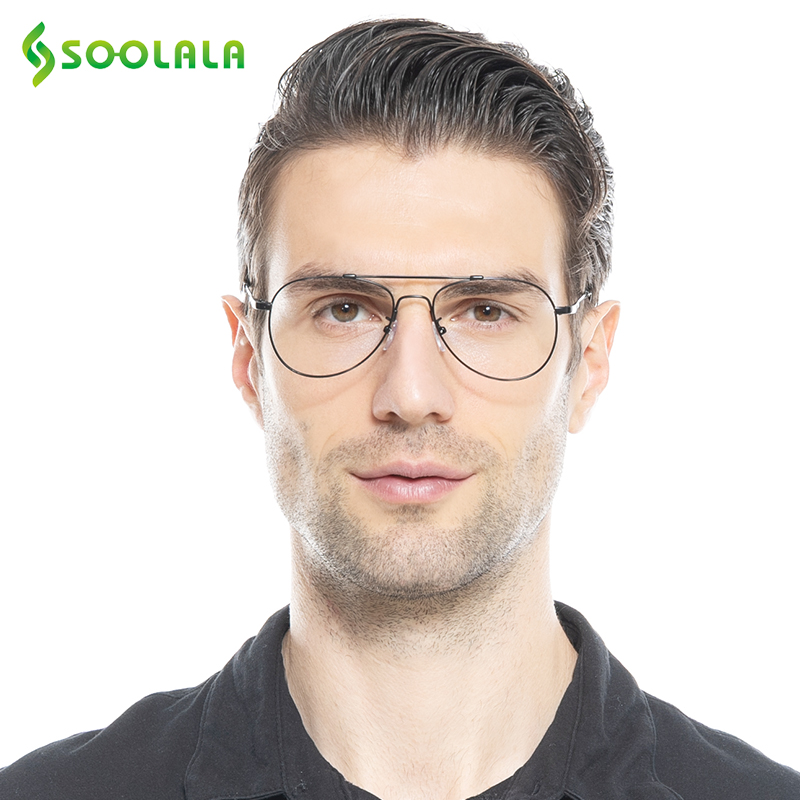 SOOLALA Retro atmiņas metāla rāmji lasīšanas brilles vīriešiem Pielāgotas miopijas brilles lasītājs +1 +1.5 +2 +2.5 +3