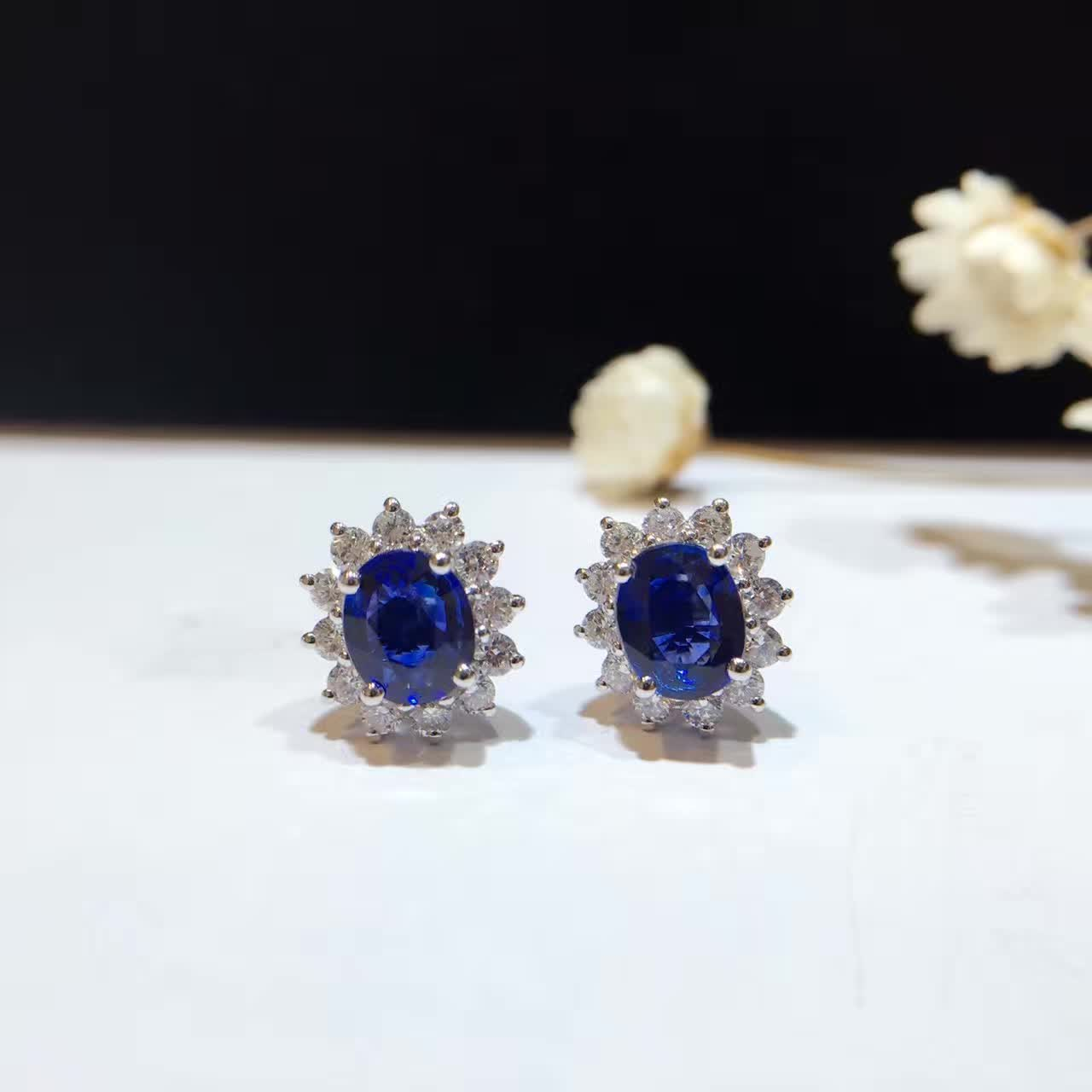 18k Gold 1443ct Natural Sapphire Stud Earrings For Women 0474ct Diamond  Encrusted Free Shipping Sapphirejewelry