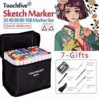 Touchfive 30/40/60/80/168 cores esboço marcador caneta conjunto marcadores gêmeos caneta escova para desenho manga arquitetura design arte suprimentos