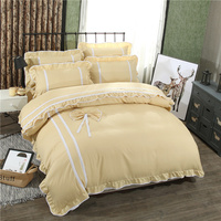 Noble khaki Solid color Korean style Lace bowknot princess new bedding sets twin full queen size duvet cover bedsheet pillowcase