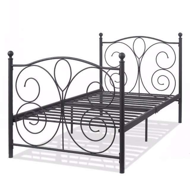 Goplus Black Steel Twin Size Metal Bed Frame Platform Foundation Portable Folding Kids Guest