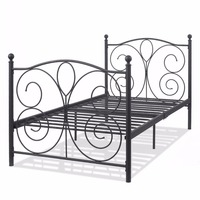 Goplus Black Steel Twin Size Metal Bed Frame Platform Foundation Portable Folding Kids Guest Bed Frame Home Furniture HW52380