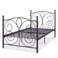 Goplus Black Steel Twin Size Metal Bed Frame Platform Foundation Portable Folding Kids Guest Bed Frame