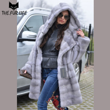 Luxurious Winter Clothes Real Fur Nature Mink Fur Coat With Warm Hoods Imported Sapphire Color Mink Full Pelt Fur Jackets Female