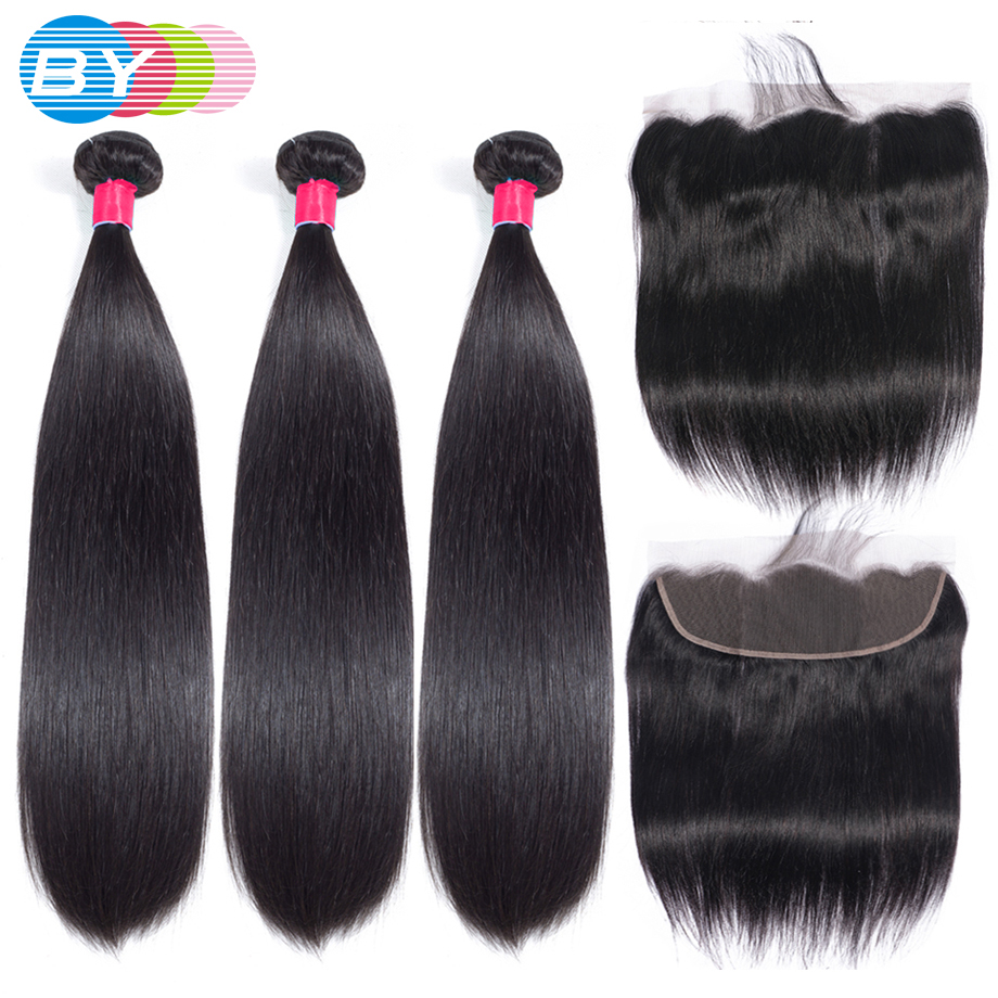 BY 28 30 32Inch Brazilian Hair Weave 3 Bundles With 13x4 Lace Frontal Closure Straight 100