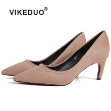 Vikeduo 2019 Fashion Women Pumps Solid High Heel Ladies Suede Shoes Female Wedding Business Party Handmade Zapatos Mujer Sapatos