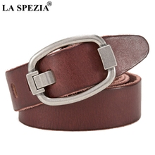 цены LA SPEZIA Real Leather Belt Men Brand Coffee Accessories Belt Male Soft Genuine Leather Cowhide Classic Pin Buckle Belt Jeans