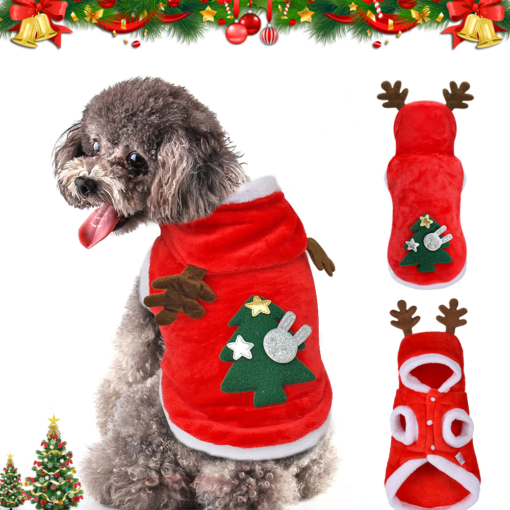 Warm Dog Jacket in Santa Claus Pattern with Hoodie and Warm Cuffs for Small Dogs 6