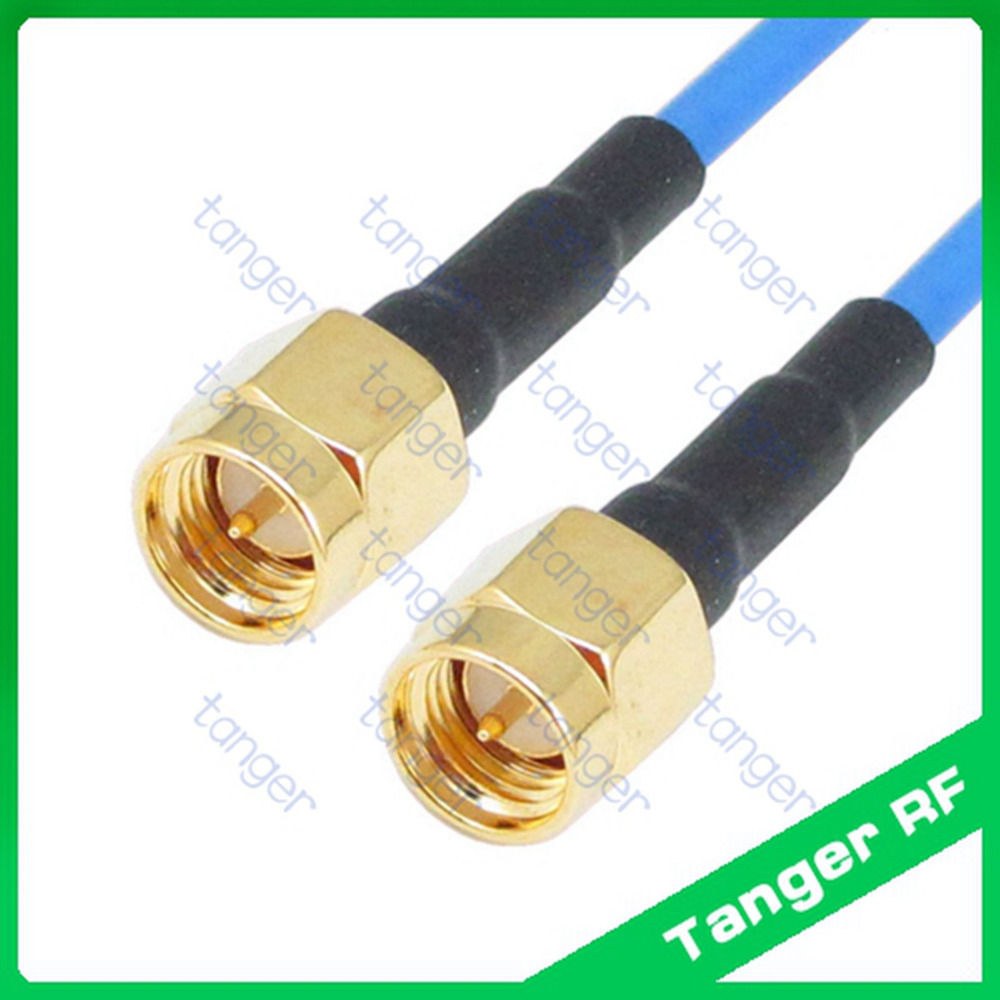 Hot High quality SMA male to male plug straight with RG405 RG086 Blue RF Coaxial Jumper Semi Flex cable 20in 50cm Low Loss Coax hot mmcx male plug to n female jack 4four hole panel straight with 20cm 8inch rg316 rf coaxial pigtail jumper low loss cable