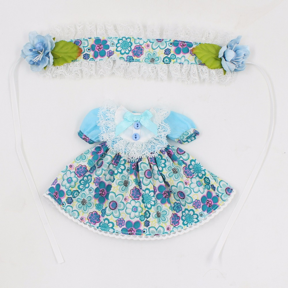 Neo Blythe Doll Blue Flower Outfit With Headdress Dress 5