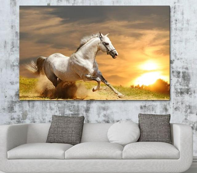 Single Animal Painting Running White Horse Art HD Picture Modern Home Living Room Wall Decor Canvas