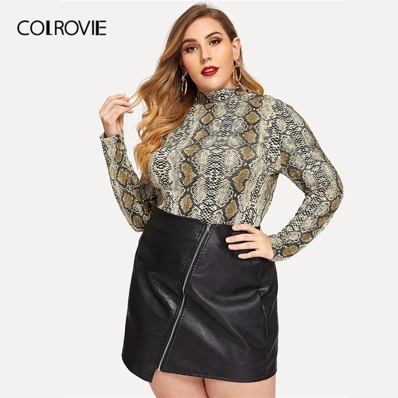 COLROVIE Plus Size Mock-neck Snake Print Office T-Shirt Women Clothing 2019 Spring Fashion Streetwear Long Sleeve Tee Shirt Tops