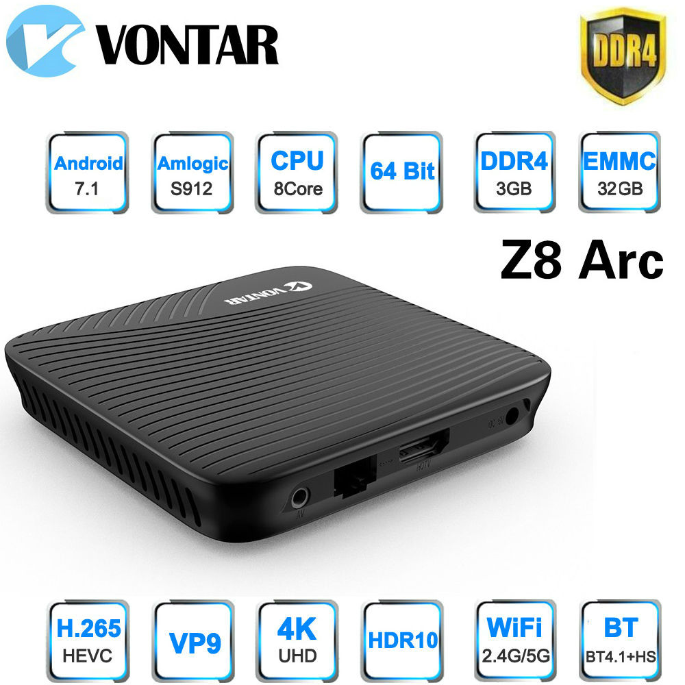 Vontar Z8 Arc 3g/32g DDR4 TV BOX Amlogic S912 Android 7.1 TV BOX OctaCore 4 k smart Media Player 2.4g/5.8 ghz Double WIFI BT4.1