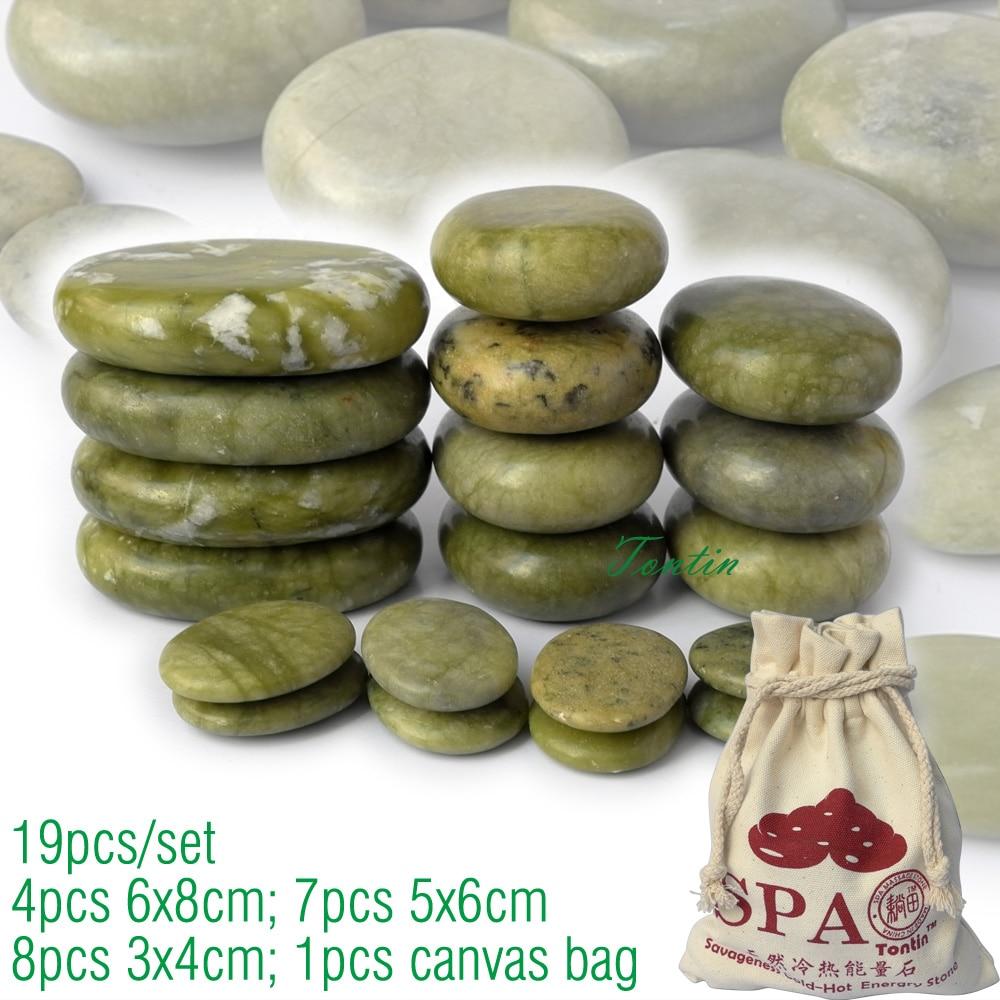 new 19pcs/set green jade body massage hot stone SPA with canvas CE and ROHS 7pcs(5x6)+4pcs(6x8)+8