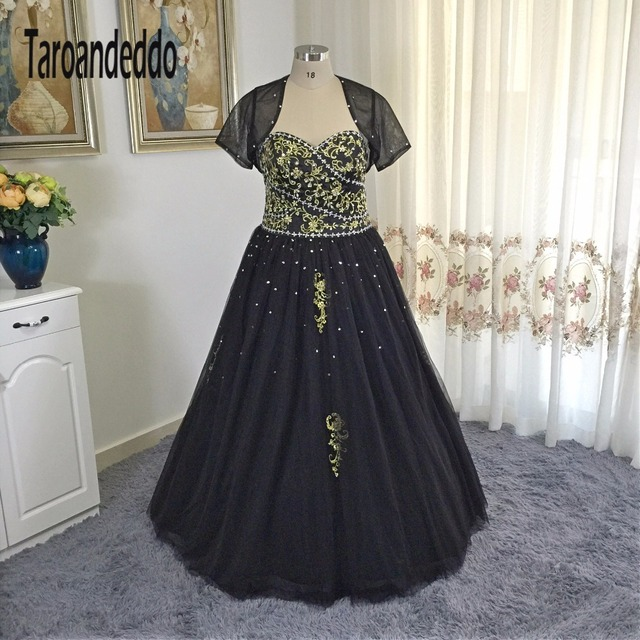 Gold Lace Embroider Lace Black Ball Gowns Plus Size Quinceanera ...