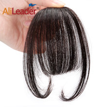 Alileader Clips In Hair Bangs Fringe Hair Extensions Clip On Bang With Two Side Synthetic Hairpieces Protein Fiber Can Be Dyed(China)