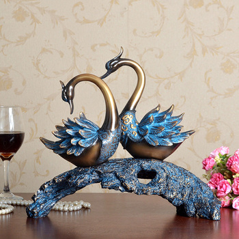 Europe Style Retro home decoration resin crafts Swan Sculptures Wedding Gift Couples Love fake bronze statues drawing room decor