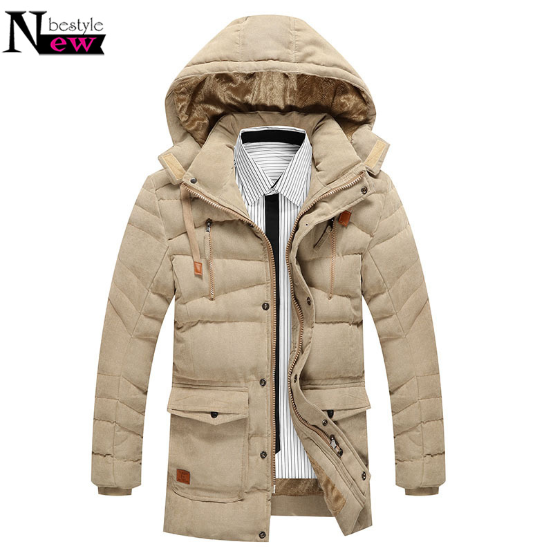 Newbestyle Men Winter Warm Coat Slim Fit Cotton Long Parkas Male Hooded Thick Padded Jacket Casual Fur Jacket Coat Soft Outwear