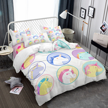 3D Bedding Set Unicorn Print Duvet Cover Lifelike Bedclothes with Pillowcase Bed Home Textiles