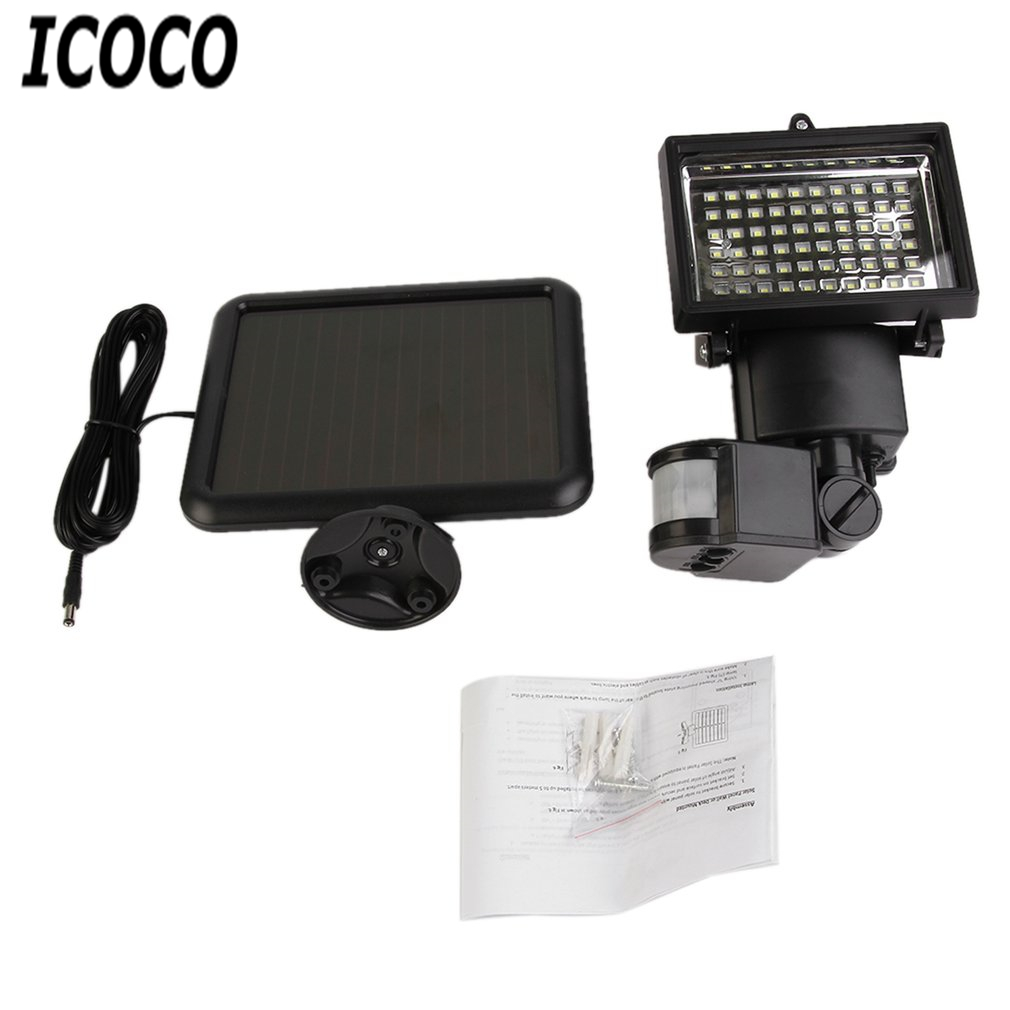 ICOCO 60 LED PIR Security Light Solar Powered Lamps Bright White Waterproof Outdoor Garden Emergency Lighting Light Sensor