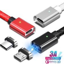 Magnetic Micro USB Cable Type-C Mobile Phone Charging for Samsung S9 S8 Xiaomi Redmi Note 7 Charger Adapter