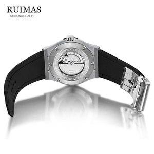 Image 5 - RUIMAS Reloj Mecánico Militar para hombre, reloj Masculino analógico con fecha, deportivo, reloj de pulsera con Correa de cuero