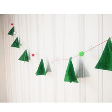 2016 Free Shipping Christmas Tree Ornament Buntings Handmade Xmas Tree Garlands With Pompoms