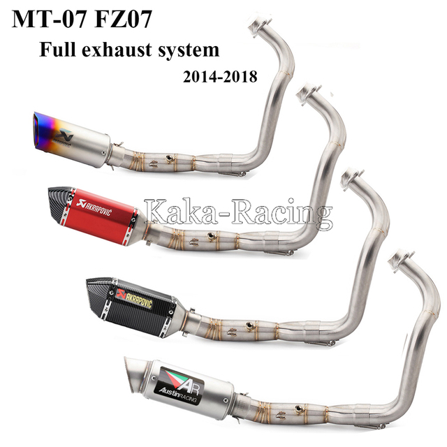MT-07 Motorcycle Full Exhaust system slip-on pipe Exhaust Muffler Escape MOTO Tail For Yamaha MT07 FZ07 Tracer 2014-2018 XSR700