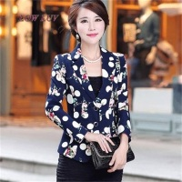 2017 Ladies Cardigan and Jacket New Long Sleeve Women's Slim Slim Women's Vintage Print Suit Jacket/Jackets for women