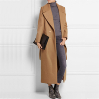 2018 Autumn Winter Casaco Feminino Women Cassic Simple Wool Maxi Long Coat Female Elegant Casual Robe Outerwear Manteau Femme X4